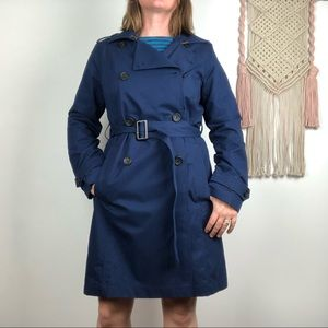 LLBEAN blue double breasted trench coat sz S